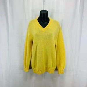 80's Yellow V Neck Wool Blend Sweater - Women's XL